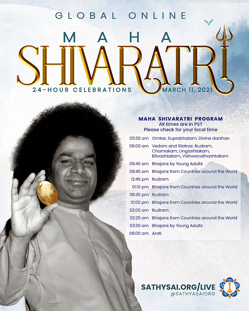 Global Online Celebration of Maha Shivaratri by the SSSIO: March 11-12, 2021 @ SSIO Live Event