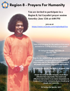 Region 8- Prayers For Humanity - Saturday June 12- 4pm